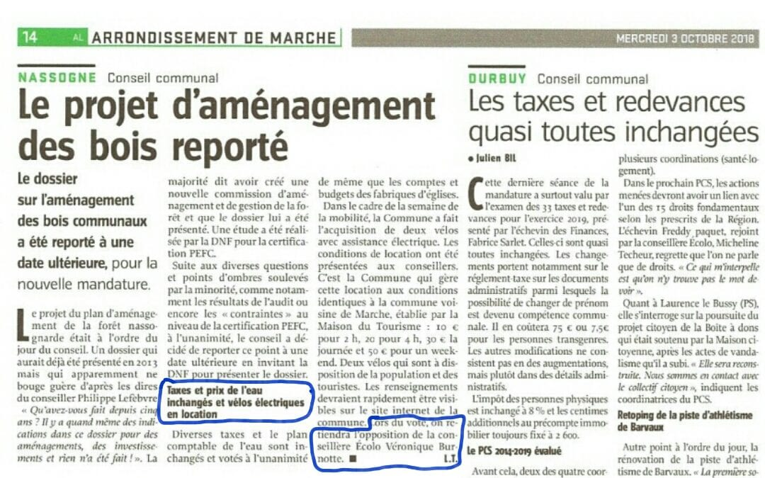 Dossier Conseil Communal location vélos électriques!