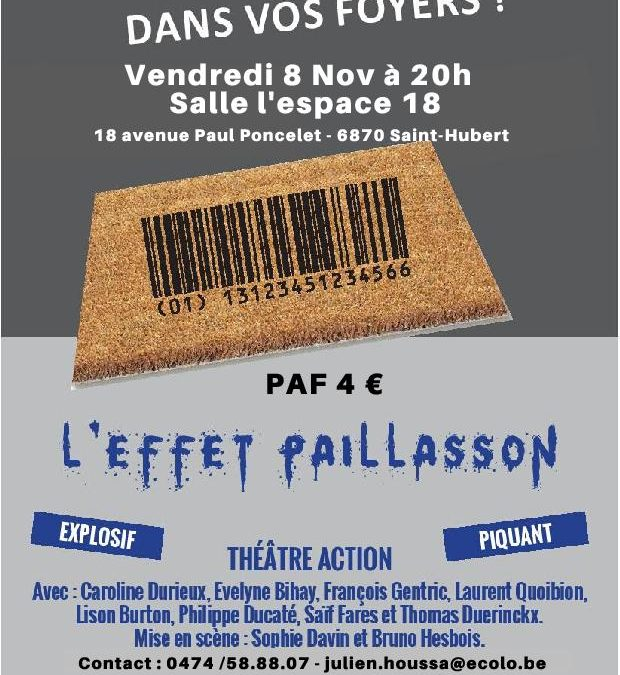 Représentation «L'effet paillasson», théâtre action sur le populisme et la démocratie